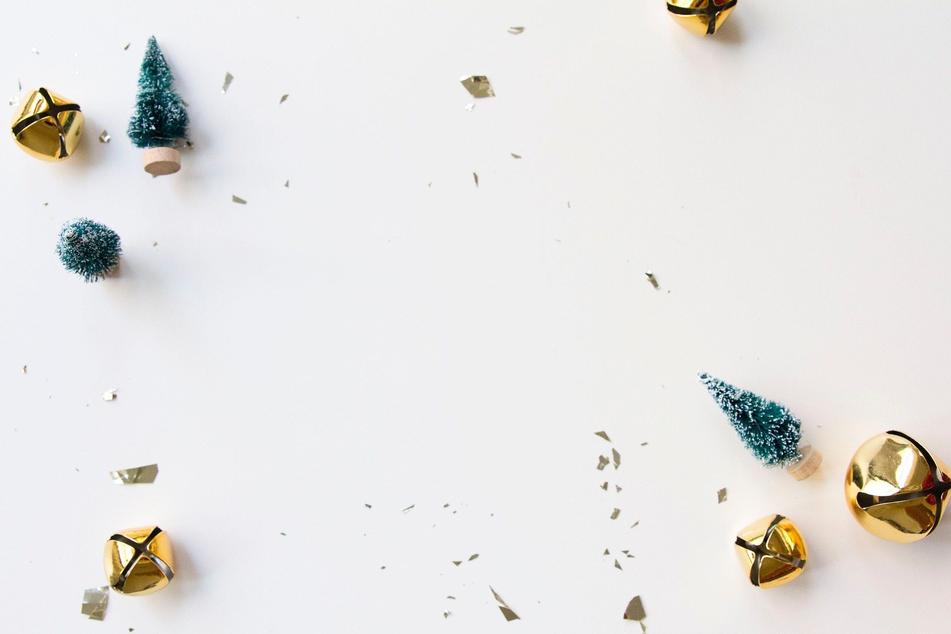 Gold Bells And Toy Christmas Trees Background Free Christmas Hq