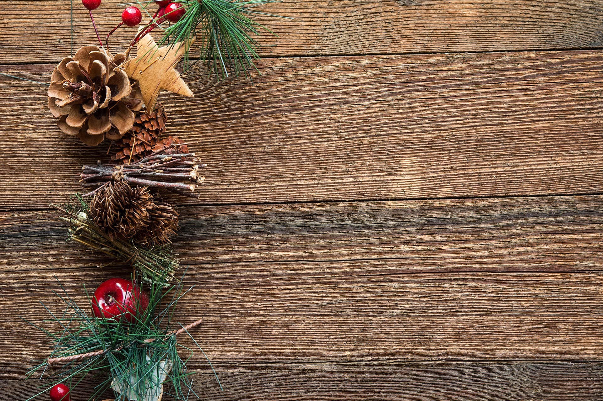 Pine Cones Holly And Greenery Background Free Christmas Hq