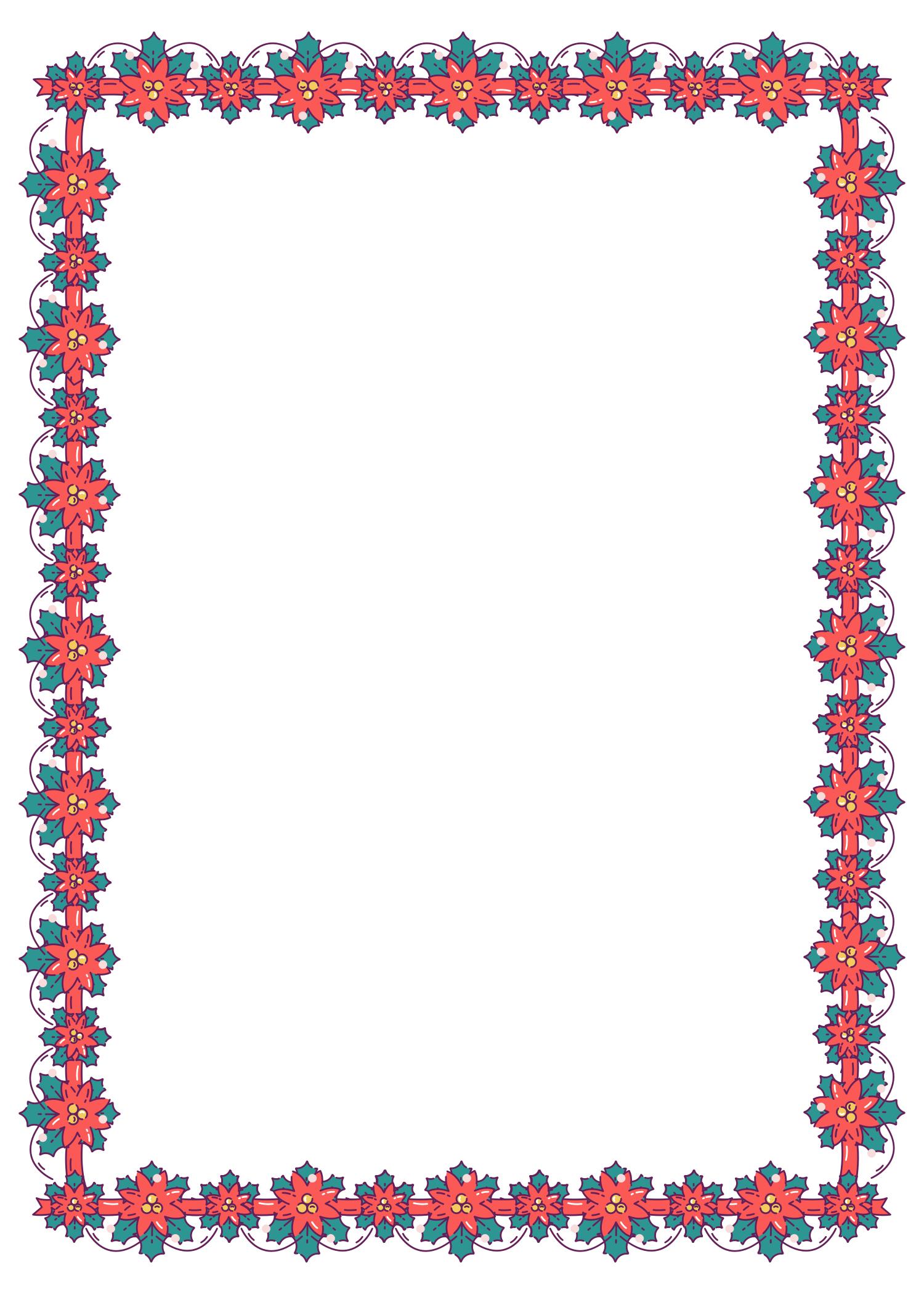 Christmas Poinsettia Border (Free) - Christmas HQ