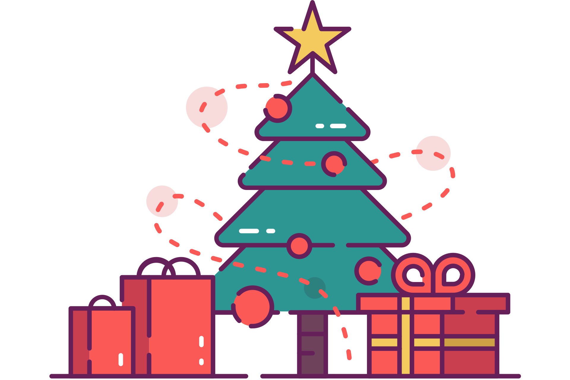 Christmas Tree with Presents Clip Art (Free) - Christmas HQ (1920 x 1280 Pixel)